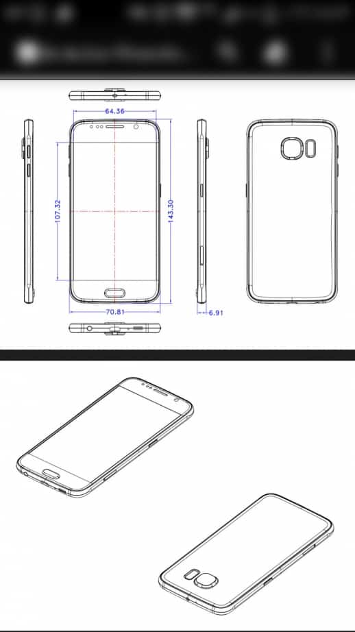 samsung galaxy s6 dimension schematics allegedly leaked
