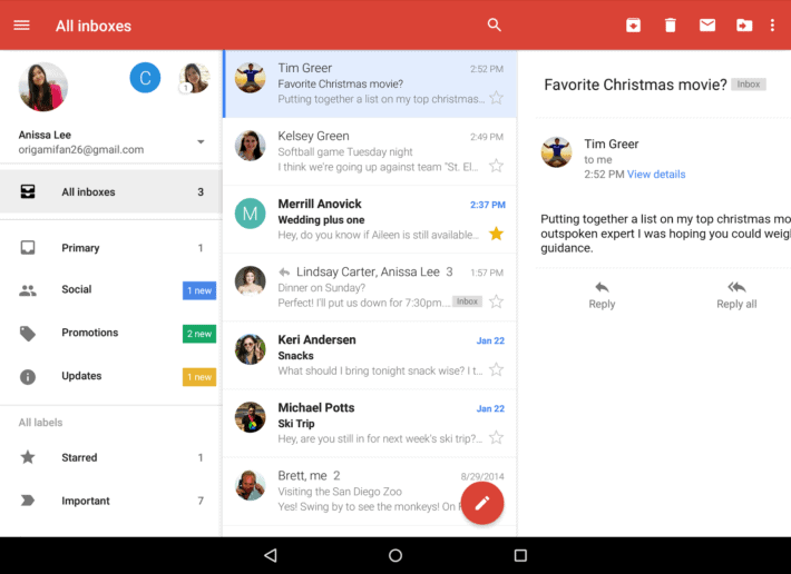 Gmail For Android Update Includes Unified Inbox For Outlook And Yahoo As Well As Other Features