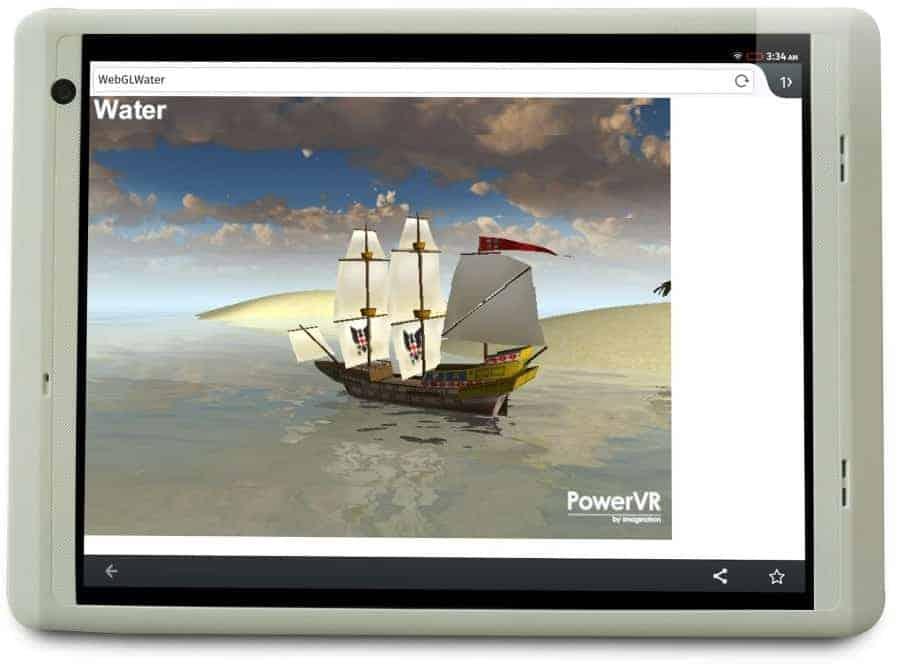 Firefox OS running WebGL demo on tablet MIPS PowerVR