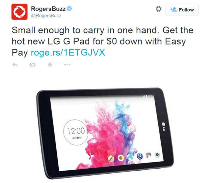 LG G Pad 7 Tweet on Rogers