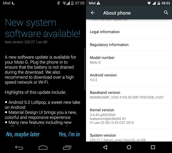 Moto G UK Update