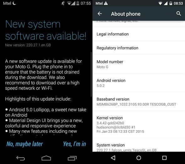 Moto G UK Update