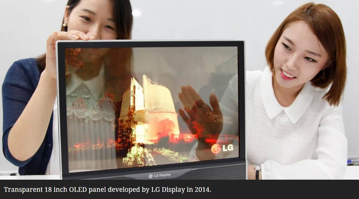 Transparent 18-inch OLED display LG