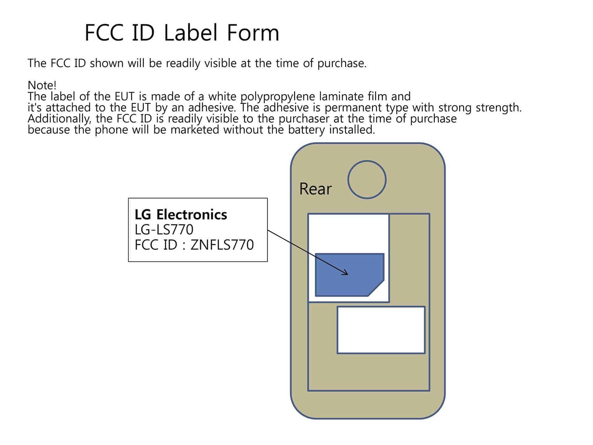 LGMS395 FCC ID Label Form
