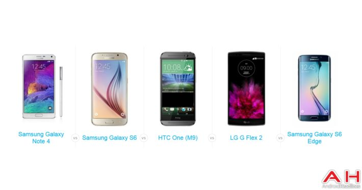 A Quick Comparison of LG G Flex 2 – HTC One M9 – Samsung Galaxy Note 4 – Samsung Galaxy S6/S6 Edge