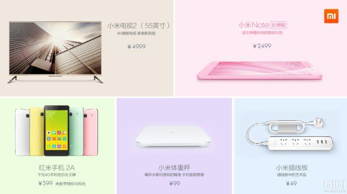 Xiaomi's 5th Anniversary Event Brings Pink Mi Note, 55″ Mi TV 2, Redmi 2A, Smart Scale and More
