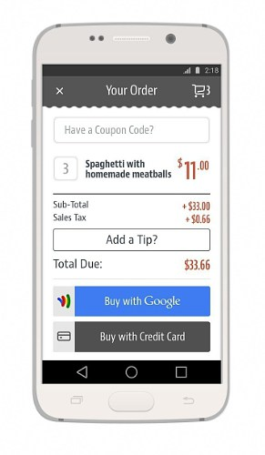 ChowNow order with Google Wallet