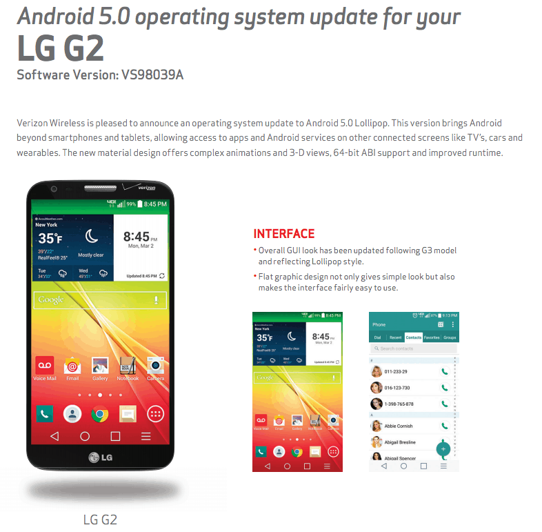 G2 Lollipop Update