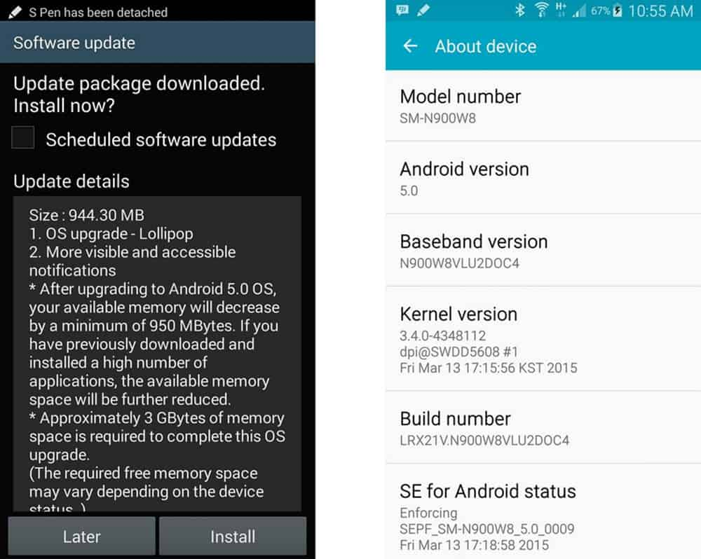 Galaxy Note 3 Lollipop Update