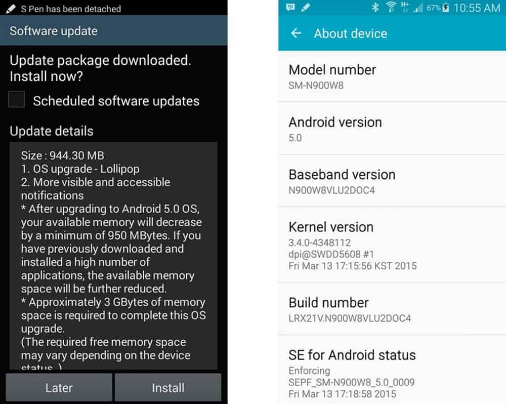 Galaxy Note 3 Lollipop Update