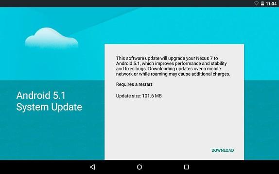 Nexus 7 2012 Android 5.1 Lollipop 1