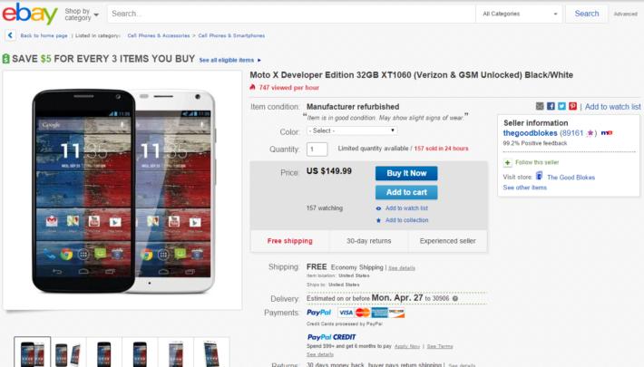 Deal: Motorola Moto X Developer Edition 32GB Verizon & GSM Unlocked For $149 on eBay