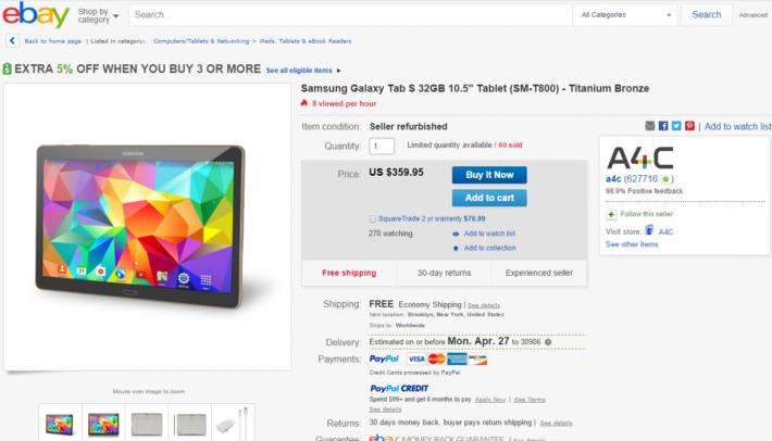 Deal: Samsung Galaxy Tab S 10.5 32GB – Titanium Bronze on eBay For $359.95