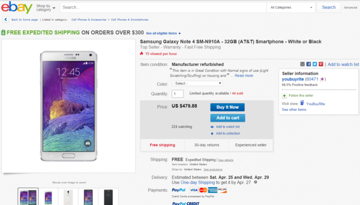 Grab A Samsung Galaxy Note 4 For AT&T W/32GB On eBay For Just $479.88