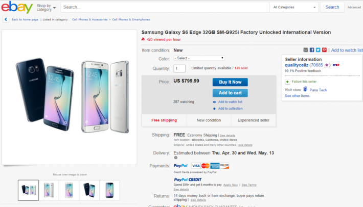 Pick Up The Samsung Galaxy S6 Edge 32GB Unlocked On eBay For Just $799.99!