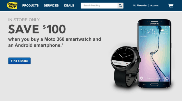 Buy an Android Smartphone from Best Buy, get $100 off the Purchase of a Moto 360