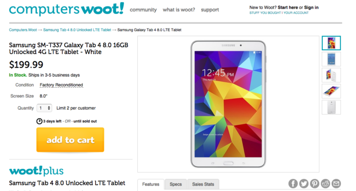 Deal: Samsung Galaxy Tab 4 8.0 LTE – $199