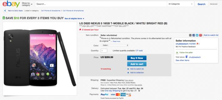 Deal: Google Nexus 5 – $269 on eBay