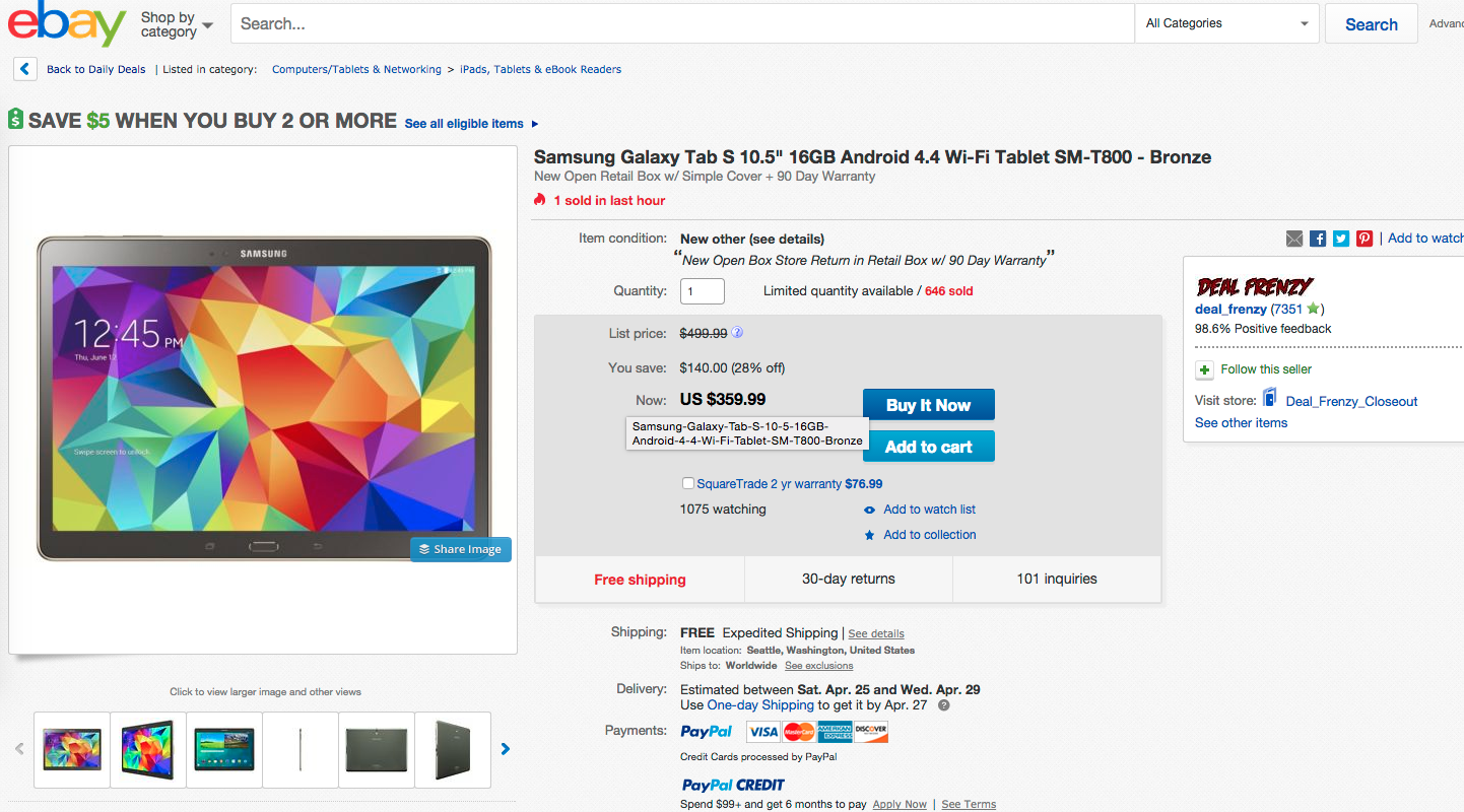 the samsung galaxy tab s 105 is currently on sale for 35999