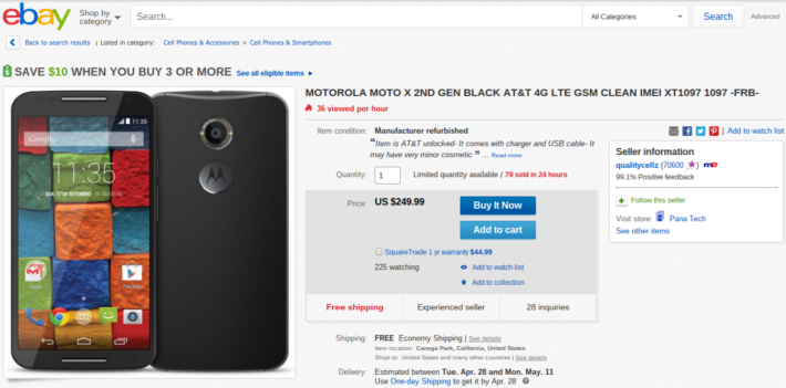 Refurbished Black AT&T Unlocked Moto X (2nd Gen) Currently Available On eBay For $249.99