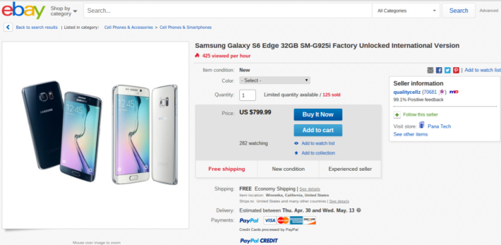 Samsung Galaxy S6 Edge Unlocked Currently Available On eBay For $799