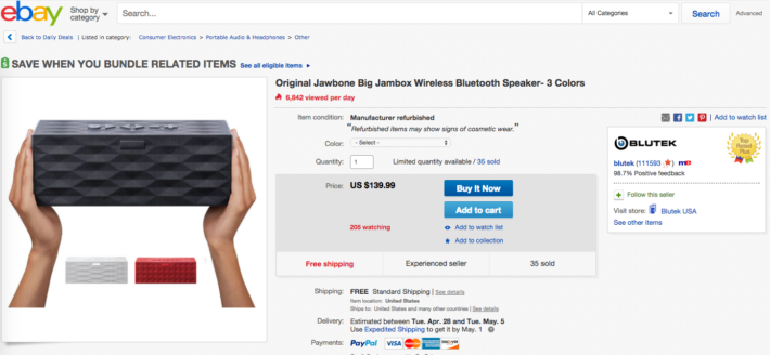 Jawbone's Big Jambox Is Currently on sale for $139 at eBay