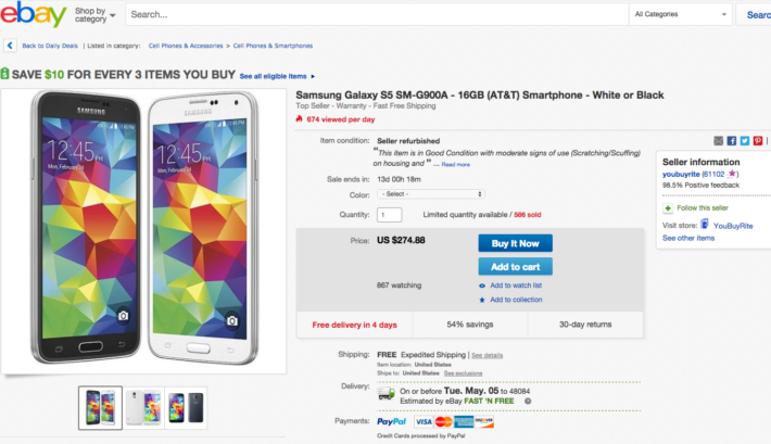 Grab an Unlocked Samsung Galaxy S5 for just $275 from eBay