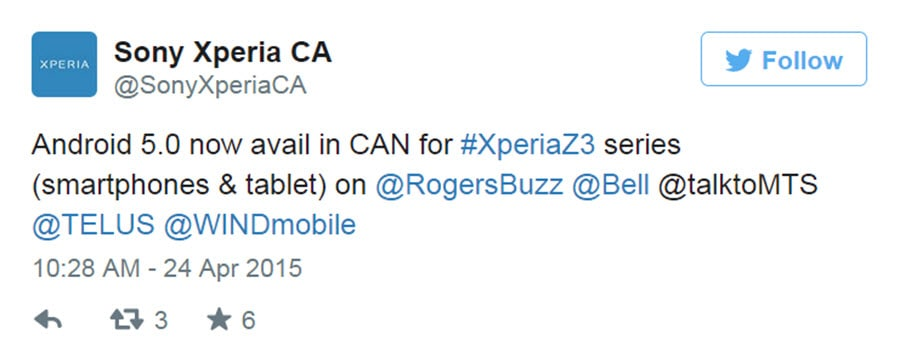 Sony Xperia Z3 Lollipop Update