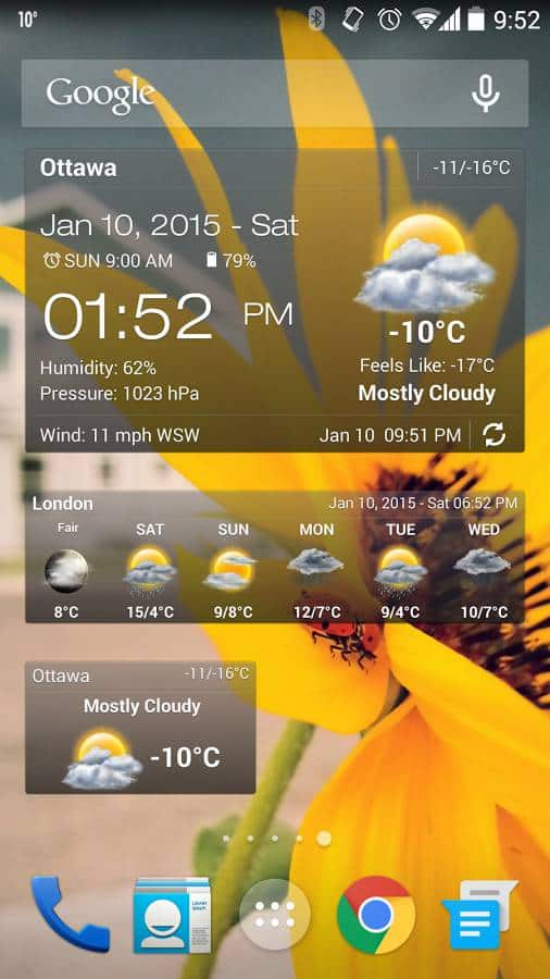 Weather And Clock Widget Android