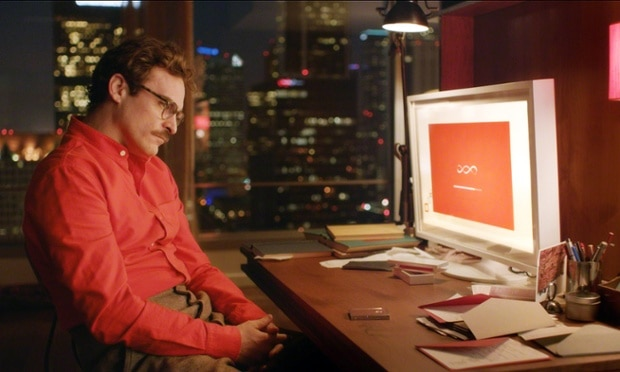 Joaquin Phoenix in Her, where he falls in love with his virtual girlfriend