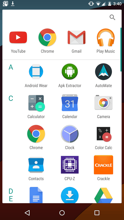 App Drawer Android M