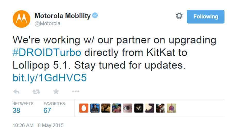 Driod Turbo Tweet about 5.1