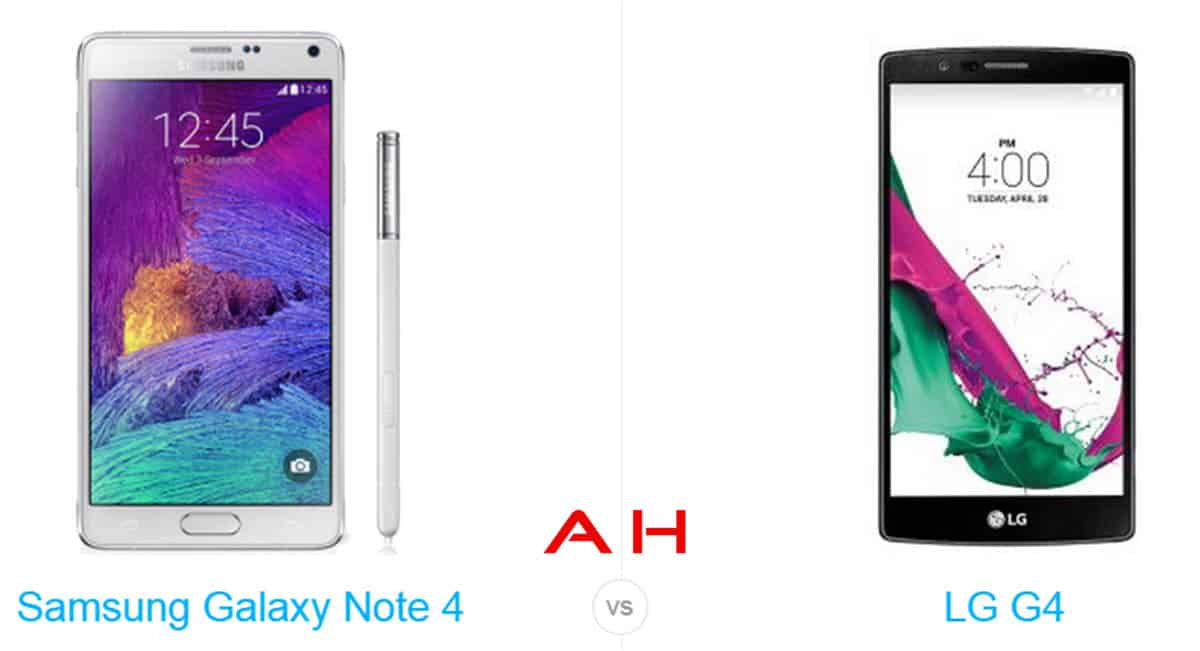 Galaxy Note 4 vs LG G4 cam AH