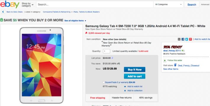 Samsung Galaxy Tab 4 7-inch on Sale for $129