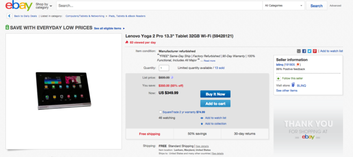 Lenovo Yoga 2 Pro 13.3 on Sale for $349 at eBay