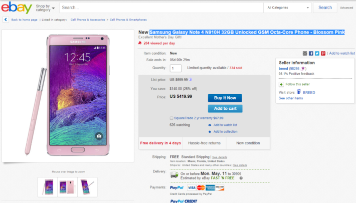 Samsung's Galaxy Note 4 32GB Unlocked In Blossom Pink Is $419.99 On eBay