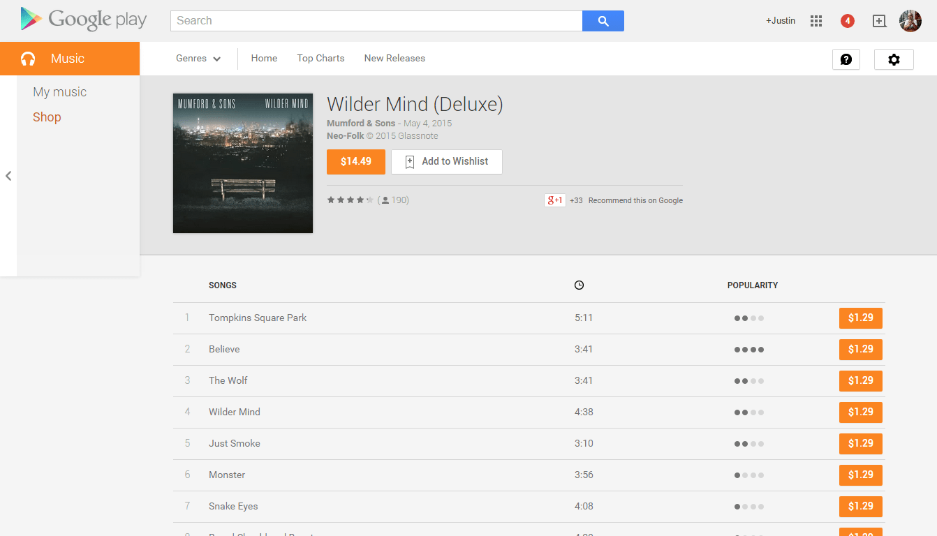 Google Play Music Section
