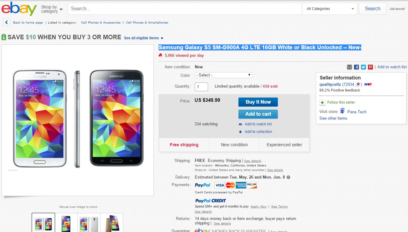 Samsung Galaxy S5 eBay