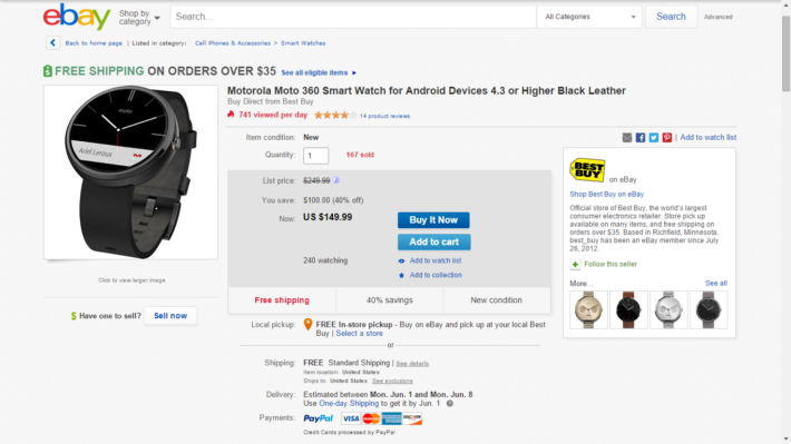 Motorola's Moto 360 In Black Is On eBay For $149.99