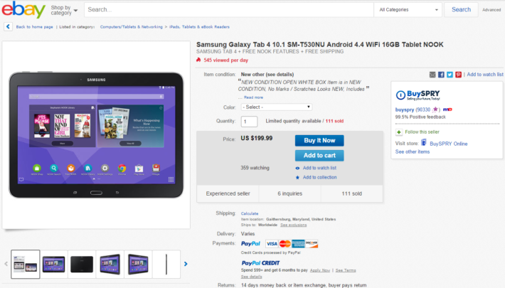 The Samsung Galaxy Tab 4 Nook Is On eBay For Just $199