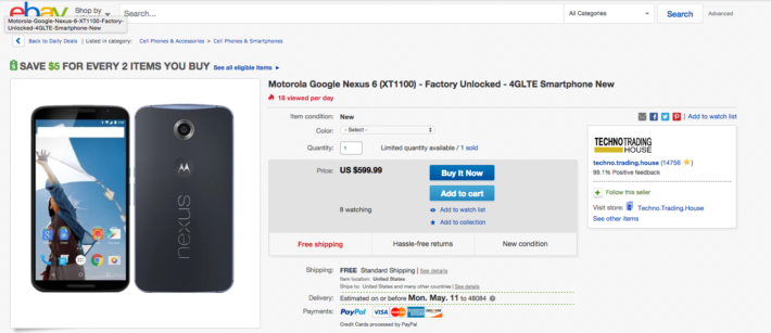 Pick up the Google Nexus 6 for $599 from eBay