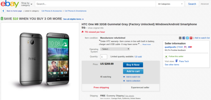 Refurbished And Unlocked HTC One M8 Currently Available On eBay For $269.99