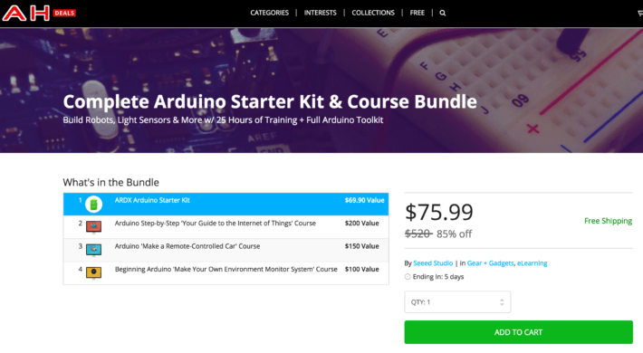 Pick Up the Arduino Starter Course Bundle for $75