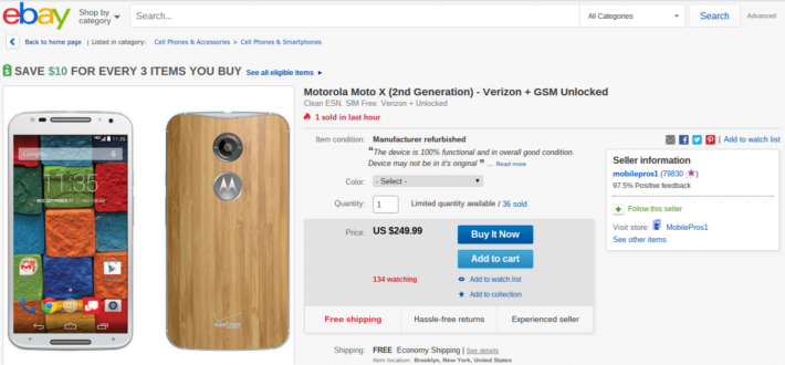 Refurbished Moto X (2nd Gen) Currently Only $249.99 On eBay