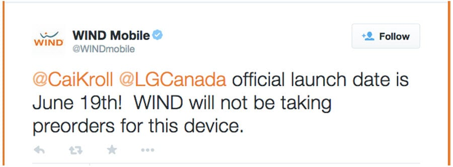 WIND Mobile Announces LG G4 6.19