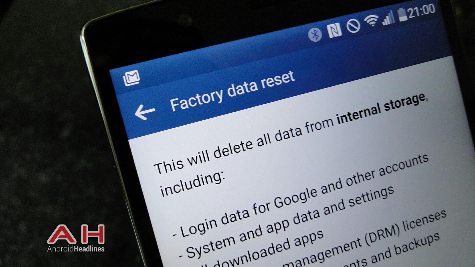 android factory reset lg g