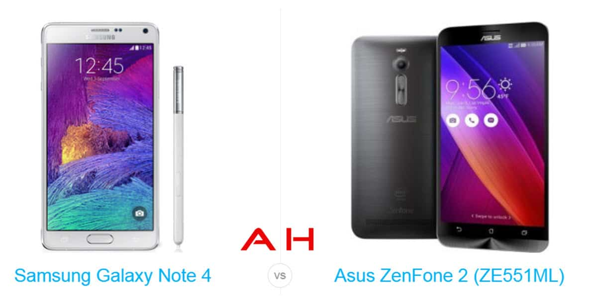 Galaxy Note 4 vs ZenFone 2 cam AH 2