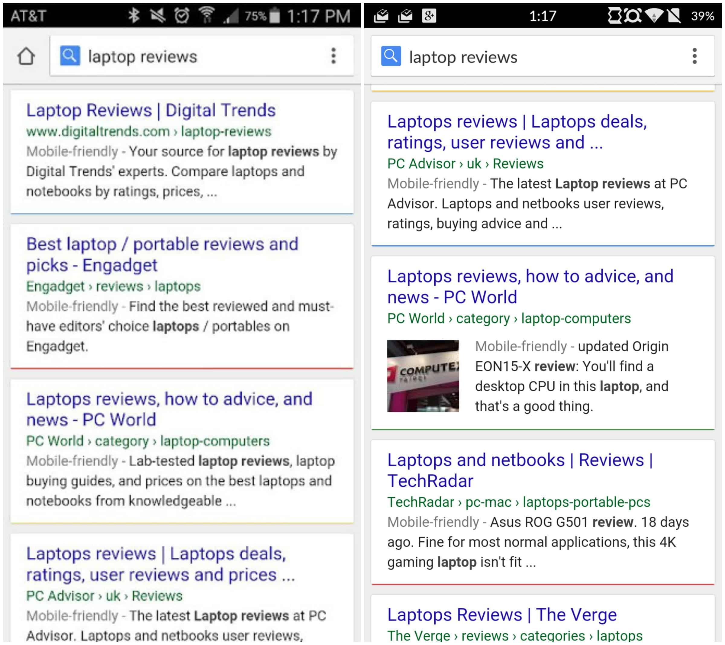 Googl search results