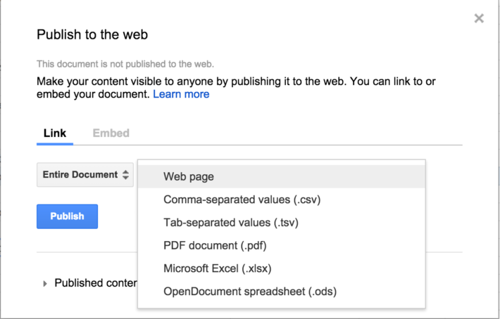 Google Sheets More Publishing Formats