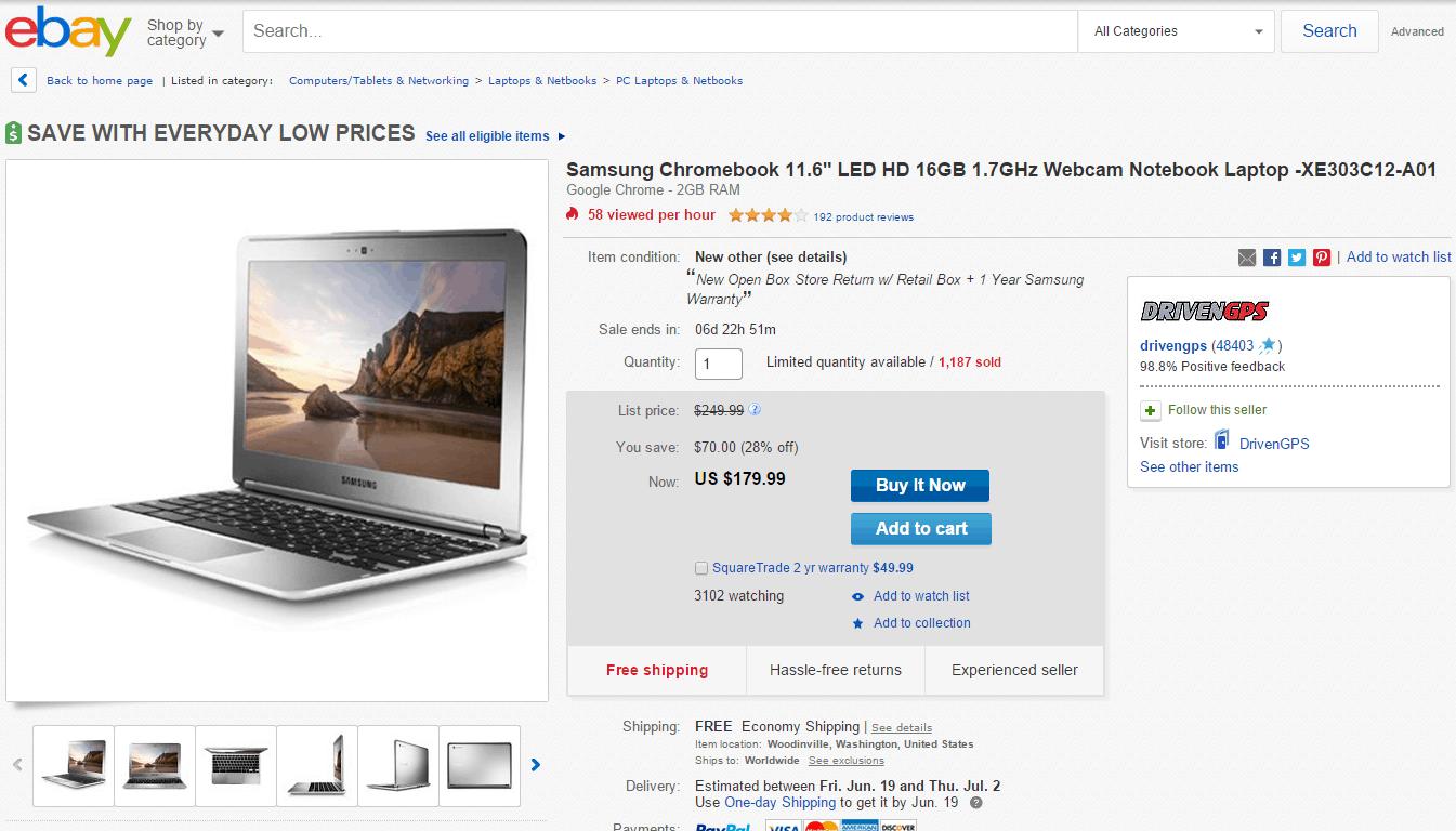 Samsung Chromebook eBay deal